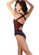 Ballet Rosa Cross Back Embroidered Leotard Black back. [Black-Red]