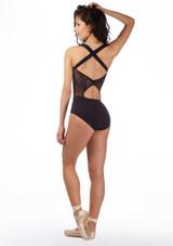 Ballet Rosa Cross Back Embroidered Leotard Black back #2. [Black]