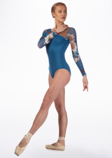 Ballet Rosa Floral Mesh Leotard Blue side. [Blue]