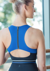 Move Dance Strength Cut Out Leotard Blue back #3. [Blue]