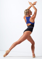 Move Dance Strength Cut Out Leotard Blue back #2. [Blue]