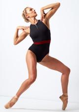 Move Dance Passion Zip Front Leotard Black front. [Black]