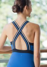 Move Dance Passion Zip Front Leotard Blue back #3. [Blue]