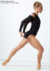 Move Dance Arabel Cold Shoulder Long Sleeve Lace Leotard Black front. [Black]