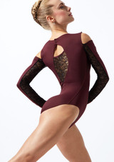 Move Dance Arabel Cold Shoulder Long Sleeve Lace Leotard Purple back. [Purple]