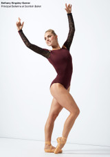 Move Dance Arabel Cold Shoulder Long Sleeve Lace Leotard Purple front #2. [Purple]