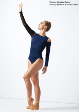 Move Dance Arabel Cold Shoulder Long Sleeve Lace Leotard Blue front #2. [Blue]