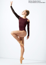 Move Dance Arabel Cold Shoulder Long Sleeve Lace Leotard Purple front. [Purple]