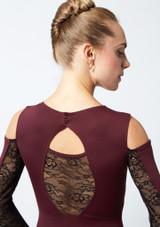 Move Dance Arabel Cold Shoulder Long Sleeve Lace Leotard Purple back #2. [Purple]