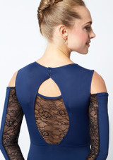 Move Dance Arabel Cold Shoulder Long Sleeve Lace Leotard Blue back. [Blue]