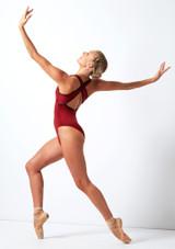 Move Dance Focus Cross Back Leotard Red back. [Red]