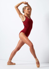 Move Dance Focus Cross Back Leotard Red front. [Red]