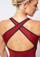 Move Dance Focus Cross Back Leotard Red back #2. [Red]