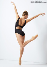 Move Dance Keirea V Front Lace Leotard Black front. [Black]