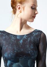 Ballet Rosa Printed 3/4 Sleeve Stretch Mesh Leotard Black front #2. [Black]