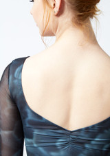 Ballet Rosa Printed 3/4 Sleeve Stretch Mesh Leotard Black back #2. [Black]