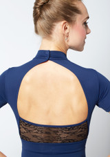 Move Dance Iona Cap Sleeve Lace Leotard Blue back #2. [Blue]
