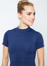 Move Dance Iona Cap Sleeve Lace Leotard Blue front #2. [Blue]