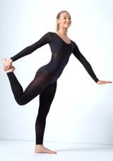Move Dance Zara Long Sleeve Mesh Leotard Black front #2. [Black]