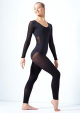 Move Dance Zara Long Sleeve Mesh Leotard Black front #3. [Black]