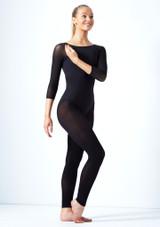 Move Dance Jet 3/4 Sleeve Mesh Leotard Black front #2. [Black]