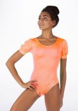 Alegra Shiny Rosalie Leotard Orange front. [Orange]