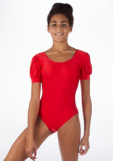 Alegra Shiny Rosalie Leotard Red front. [Red]