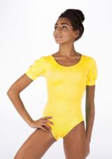 Alegra Shiny Rosalie Leotard Yellow front #2. [Yellow]