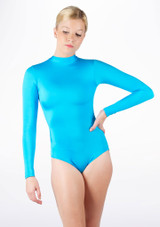 Alegra Shiny Ashlyn Leotard Blue front. [Blue]