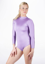 Alegra Shiny Ashlyn Leotard Purple front. [Purple]