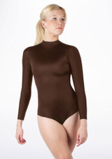 Alegra Shiny Ashlyn Leotard Brown front. [Brown]