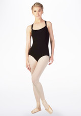 Move Antonia Cross Back Leotard Black front. [Black]