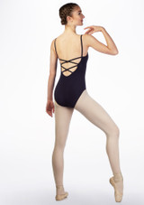 Move Ida Cross Back Leotard Blue front. [Blue]