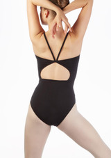Move Poloma Teen Open Camisole Leotard Black back. [Black]