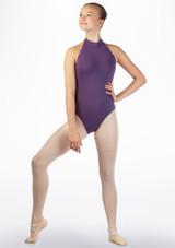 Move Zeva Teen Backless Leotard Purple front. [Purple]