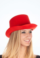 Satin Top Hat Red. [Red]