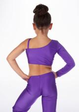 Alegra Girls Shiny Echo Top Purple back #2. [Purple]