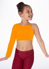 Alegra Girls Shiny Echo Top Orange front. [Orange]
