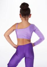 Alegra Girls Shiny Echo Top Purple back. [Purple]