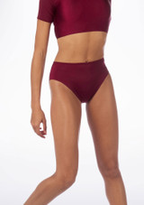 Alegra Shiny Dance Briefs Red front. [Red]