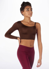 Alegra Shiny Echo Top Brown front. [Brown]