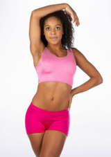 Alegra Shiny Betty Crop Top Pink front. [Pink]