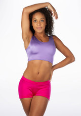 Alegra Shiny Betty Crop Top Purple front. [Purple]