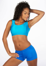 Alegra Shiny Betty Crop Top Blue front. [Blue]