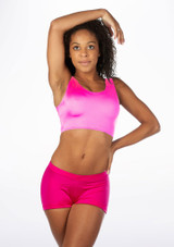 Alegra Shiny Betty Crop Top Pink front #3. [Pink]