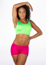 Alegra Shiny Betty Crop Top Green front #2. [Green]