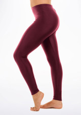 Alegra Shiny Footless Leggings Red side. [Red]