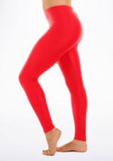 Alegra Shiny Footless Leggings Red side #2. [Red]