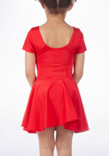 Alegra Shiny Circle Dance Skirt Red front. [Red]