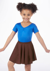 Alegra Shiny Circle Dance Skirt Brown front. [Brown]